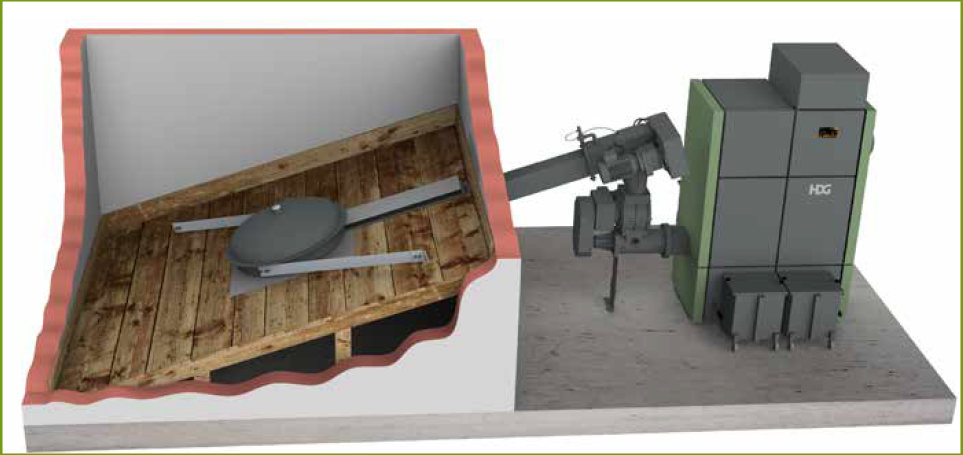 The HDG TBZ 150 feeding system consists primarily of the rotary feeder and the stoker auger.
