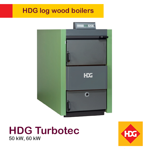 HDG Turbotec 50 or 60 kW log boiler