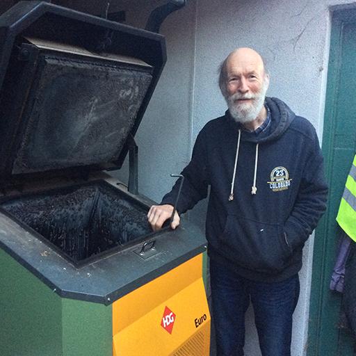 Roger Goodwillie with HDG log boiler
