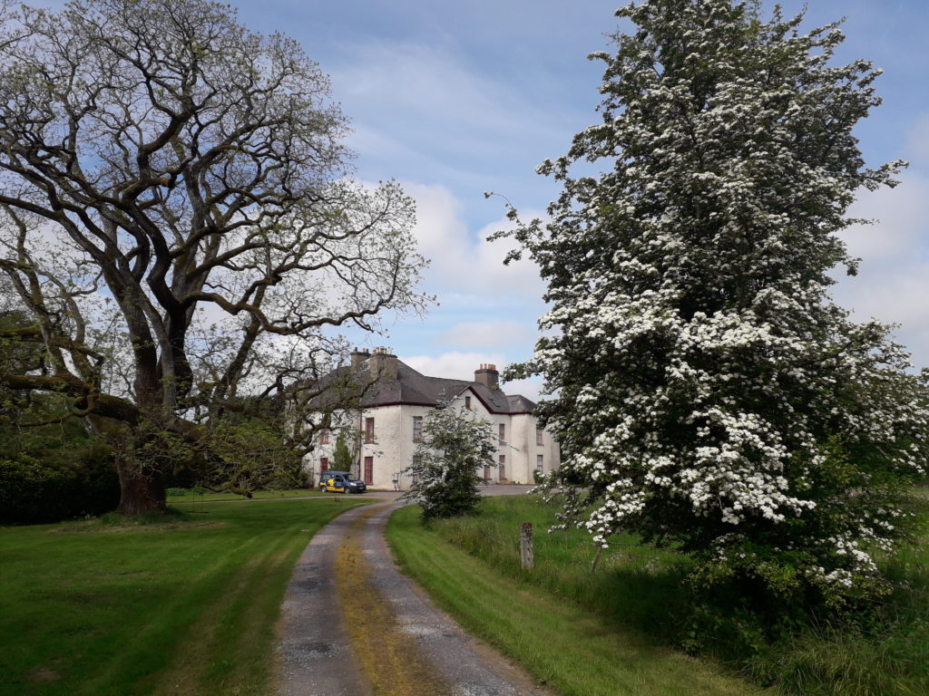 A view of Ballykilcavan House from the driveway,